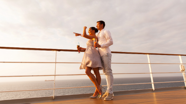 couple on deck of a ship